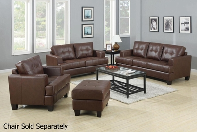 Samuel Brown Fabric Sofa and Loveseat Set