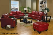 Samuel Red Leather Sofa and Loveseat Set