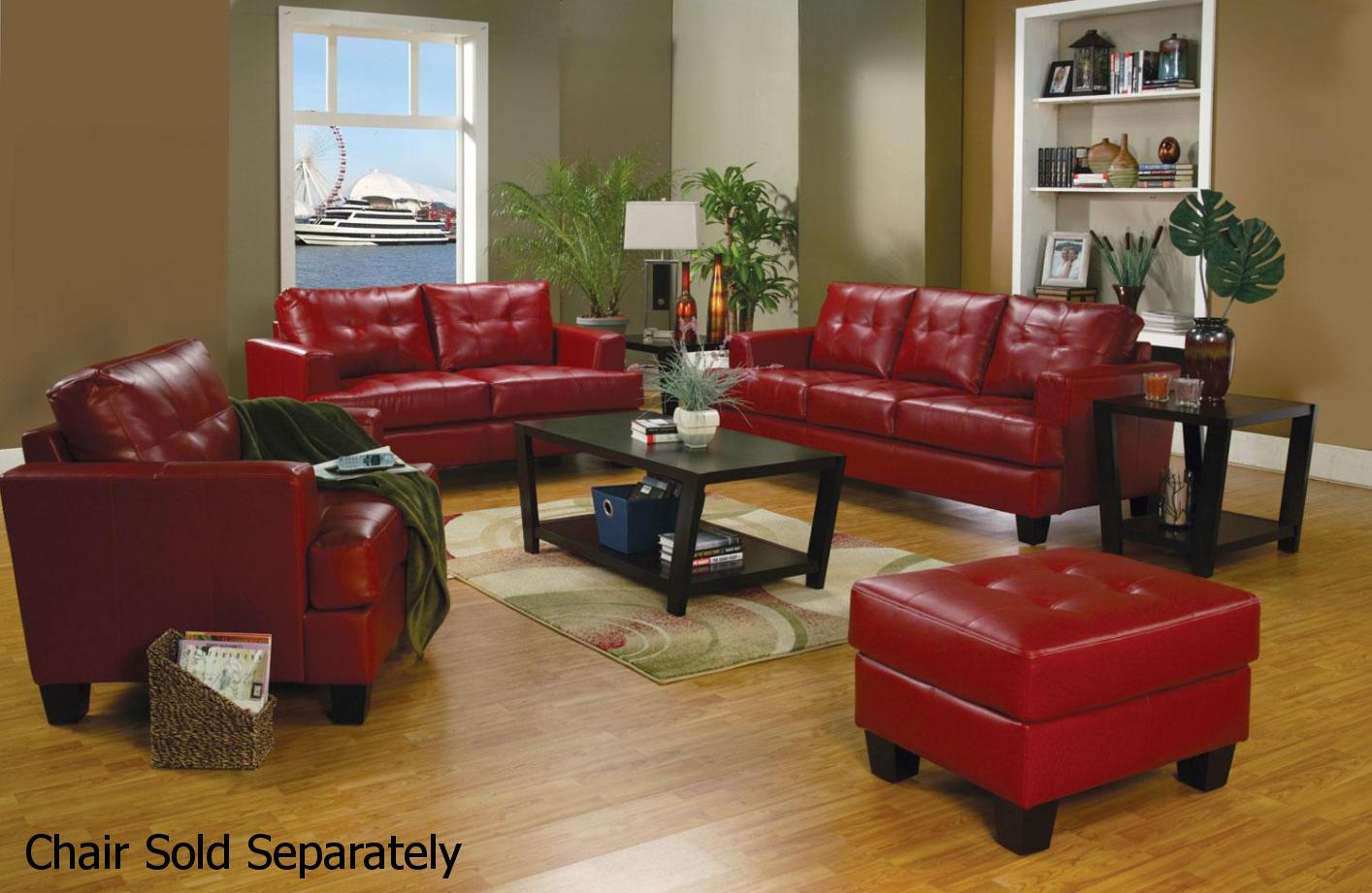 Coaster Samuel 501831 501832 Red Leather Sofa and Loveseat Set ...
