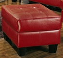 Samuel Red Leather Ottoman