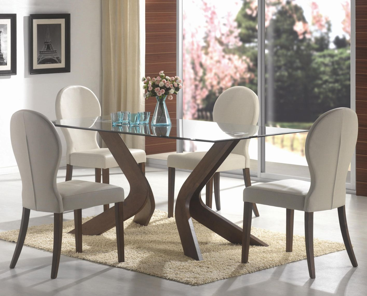 Attrayant San Vicente Walnut Wood And Glass Dining Table Set