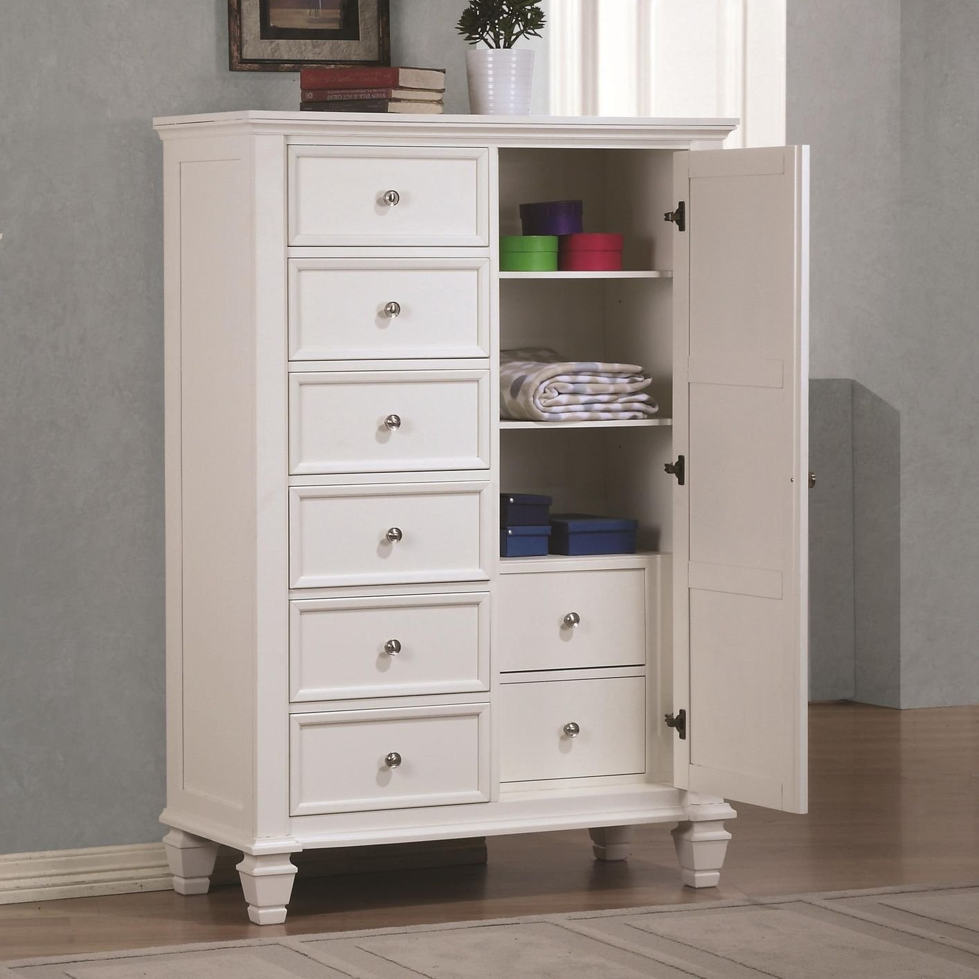 Bedroom Accent Furniture Coaster 201308 White Wood Chest Of Drawers Steal A Sofa