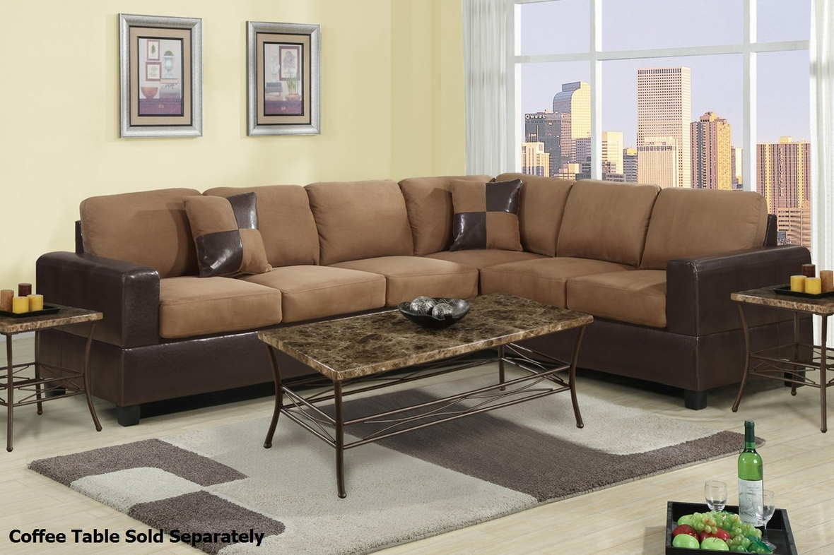 Poundex playa f7632 brown fabric sectional sofa steal a for Sectional sofa los angeles ca