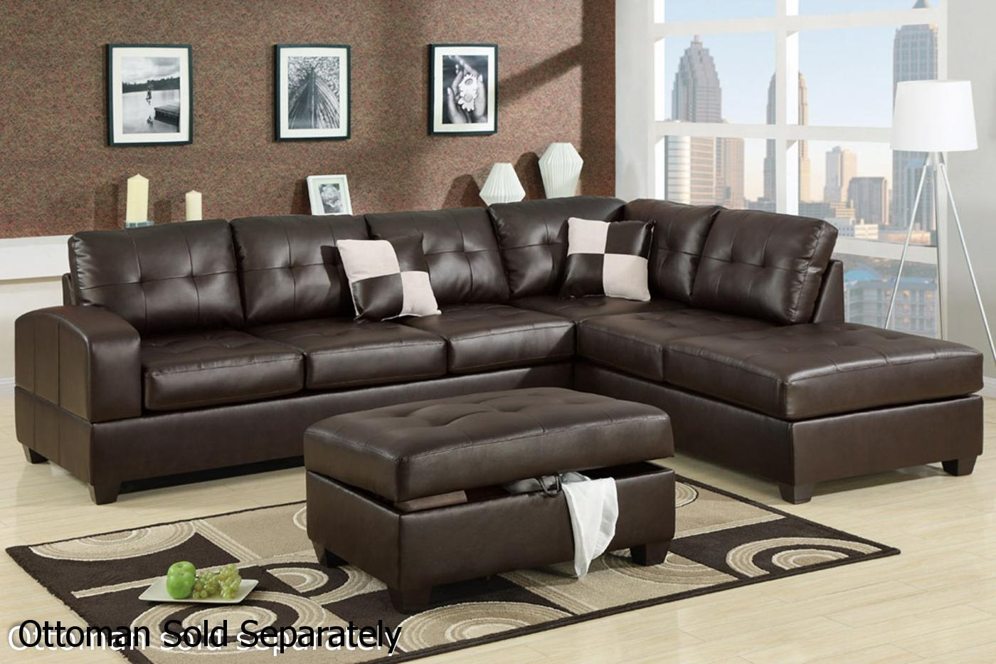 Genial Reese Brown Leather Sectional Sofa