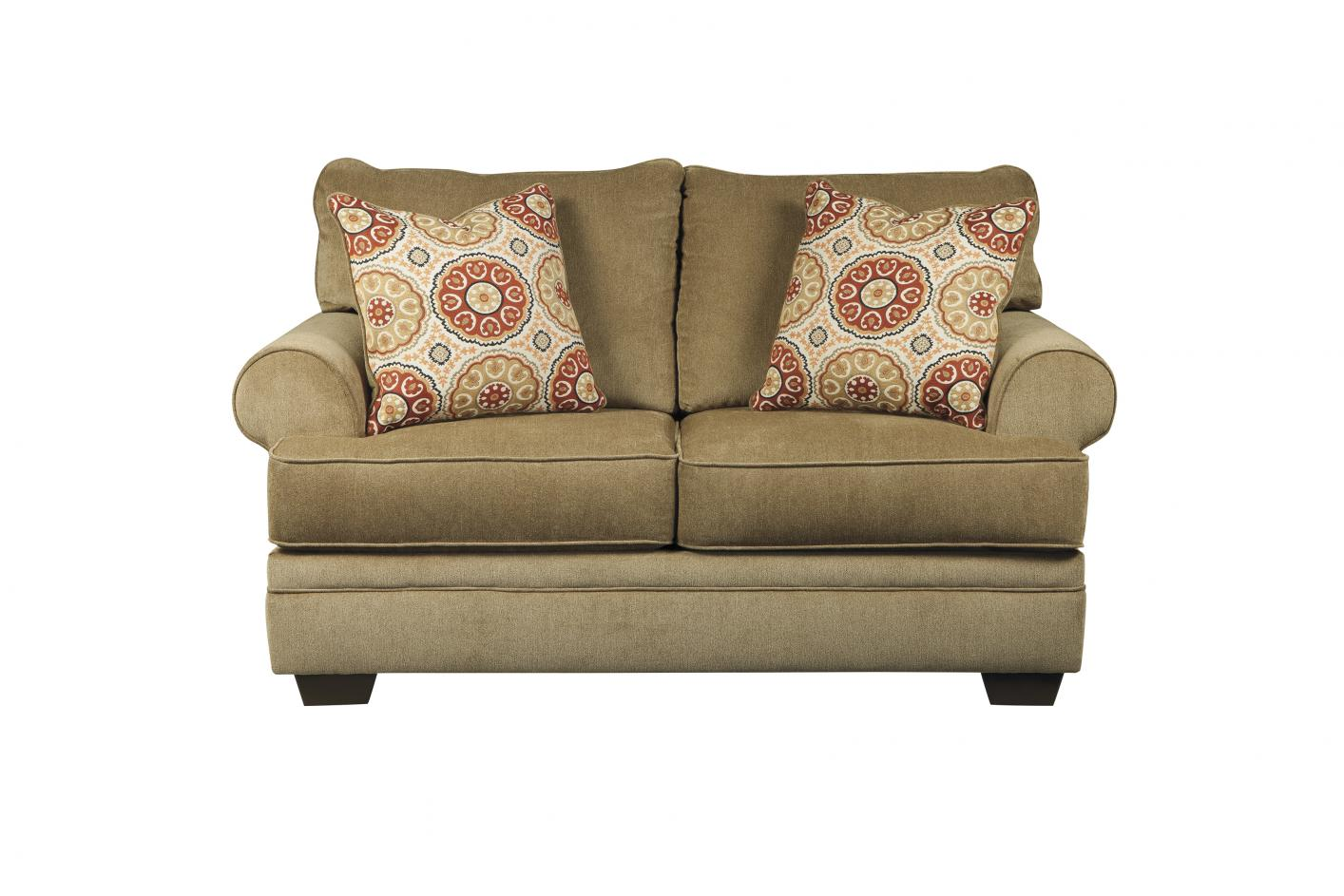 pillows loveseat dark rs loveshet removable fabric transitional brown with