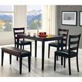 Black Leather Dining Table and Chair Set