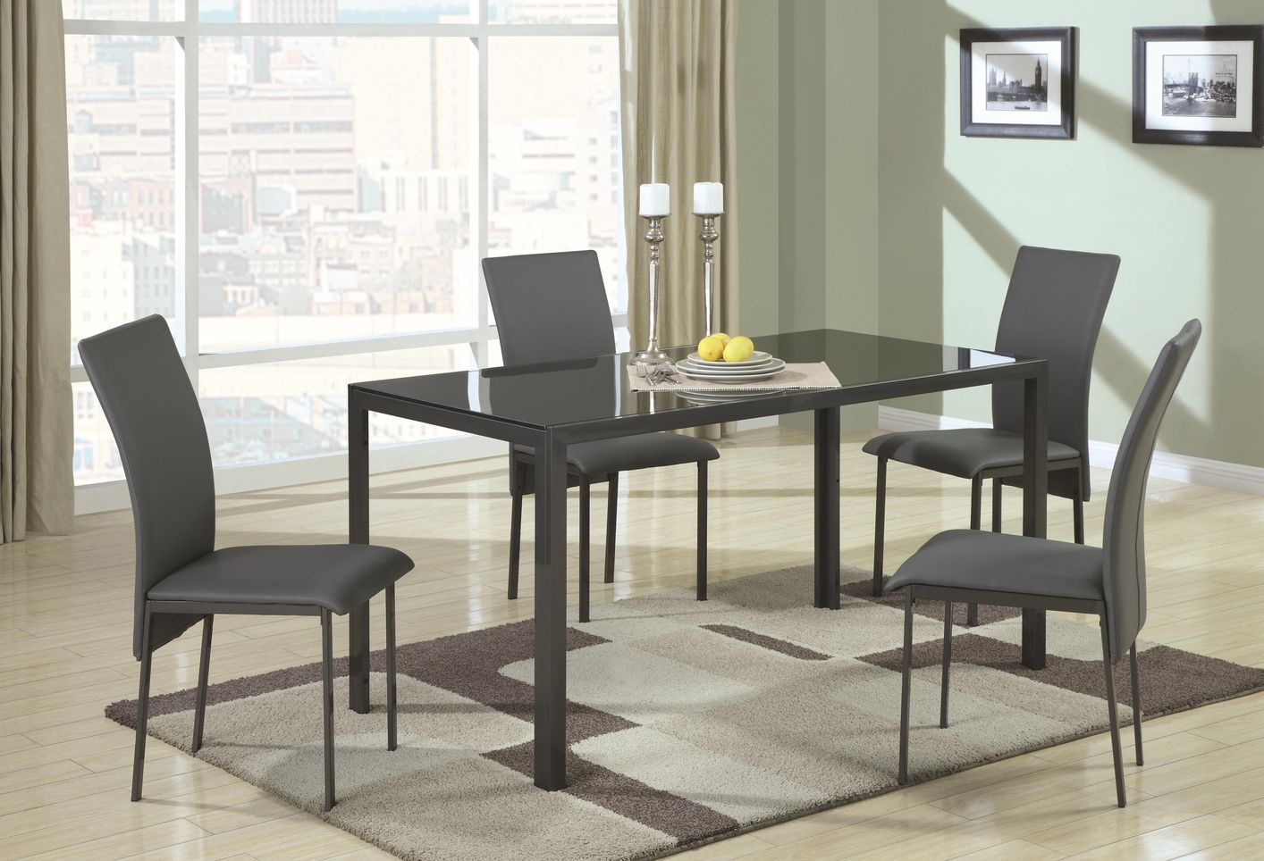 Shelby Black Metal And Gl Dining Table Set
