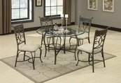 Sheridan Grey Metal And Glass Dining Table Set