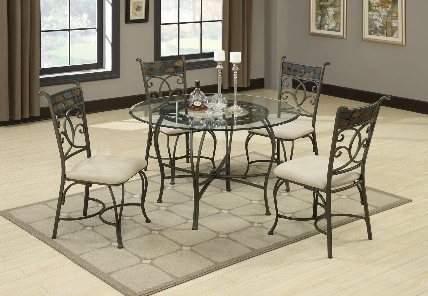 Sheridan grey metal and glass dining table set steal a for Glass dining room table set