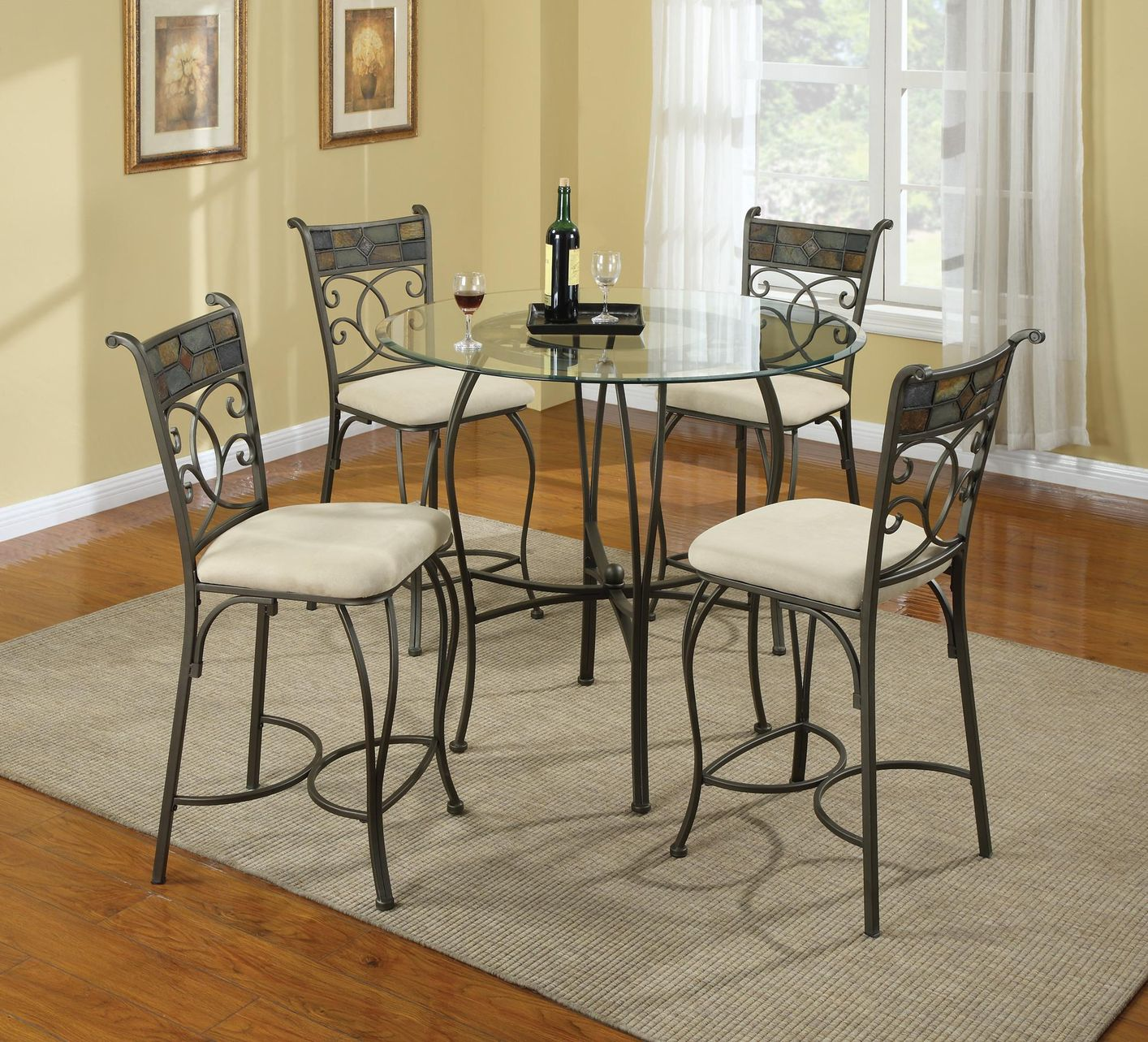 Sheridan Grey Metal And Gl Pub Table Set