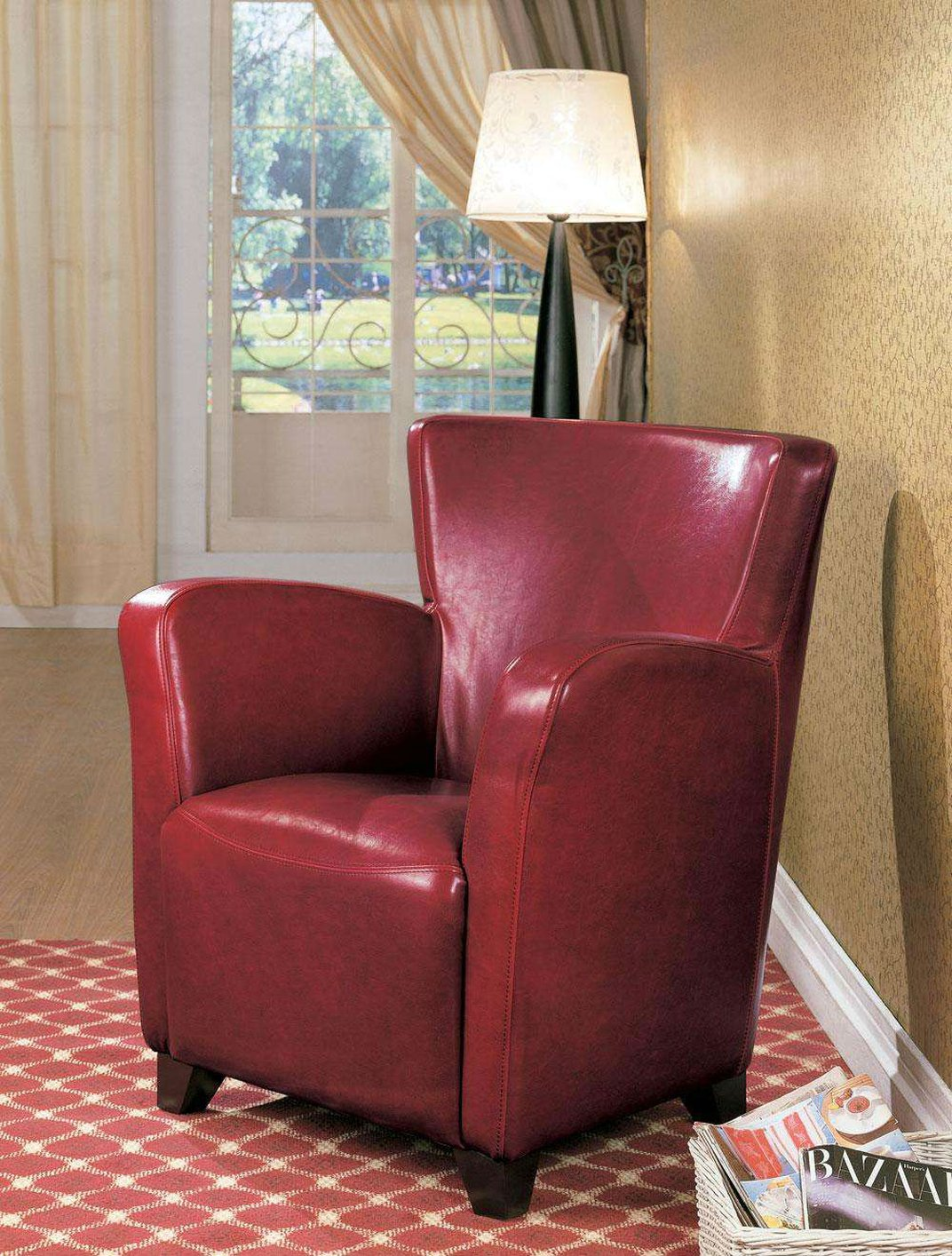 coaster 900235 red leather accent chair steal a sofa