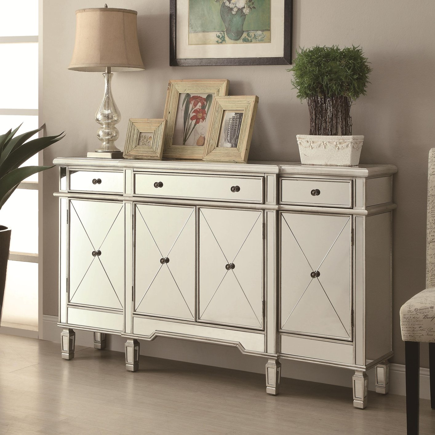 Silver Glass Accent Cabinet Steal A Sofa Furniture Outlet Los