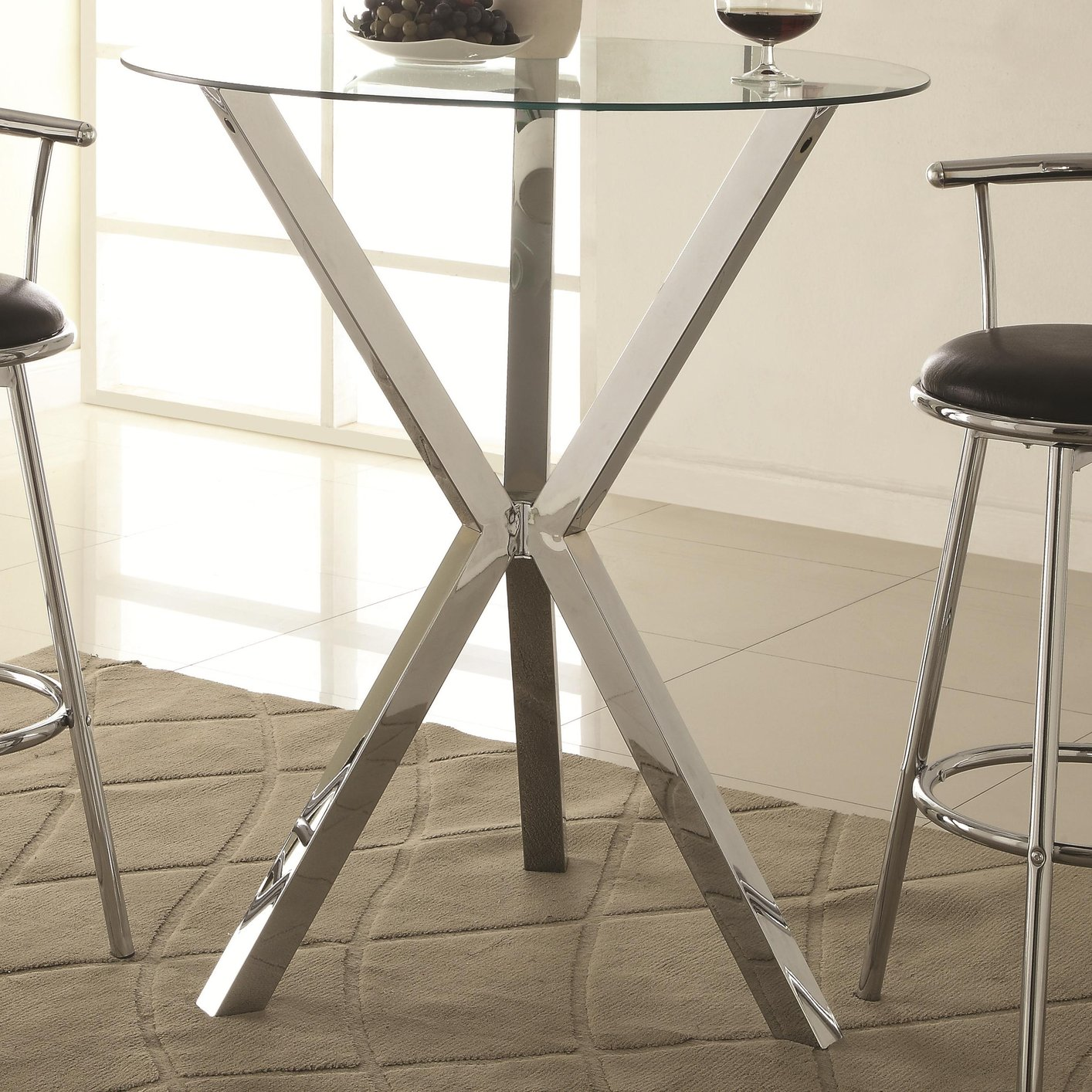 Coaster 100186 Silver Glass Bar Table Steal A Sofa Furniture Outlet Los Angeles Ca