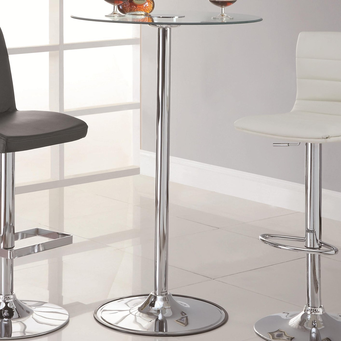 Coaster 122400 Silver Glass Bar Table Steal A Sofa Furniture Outlet Los Angeles Ca