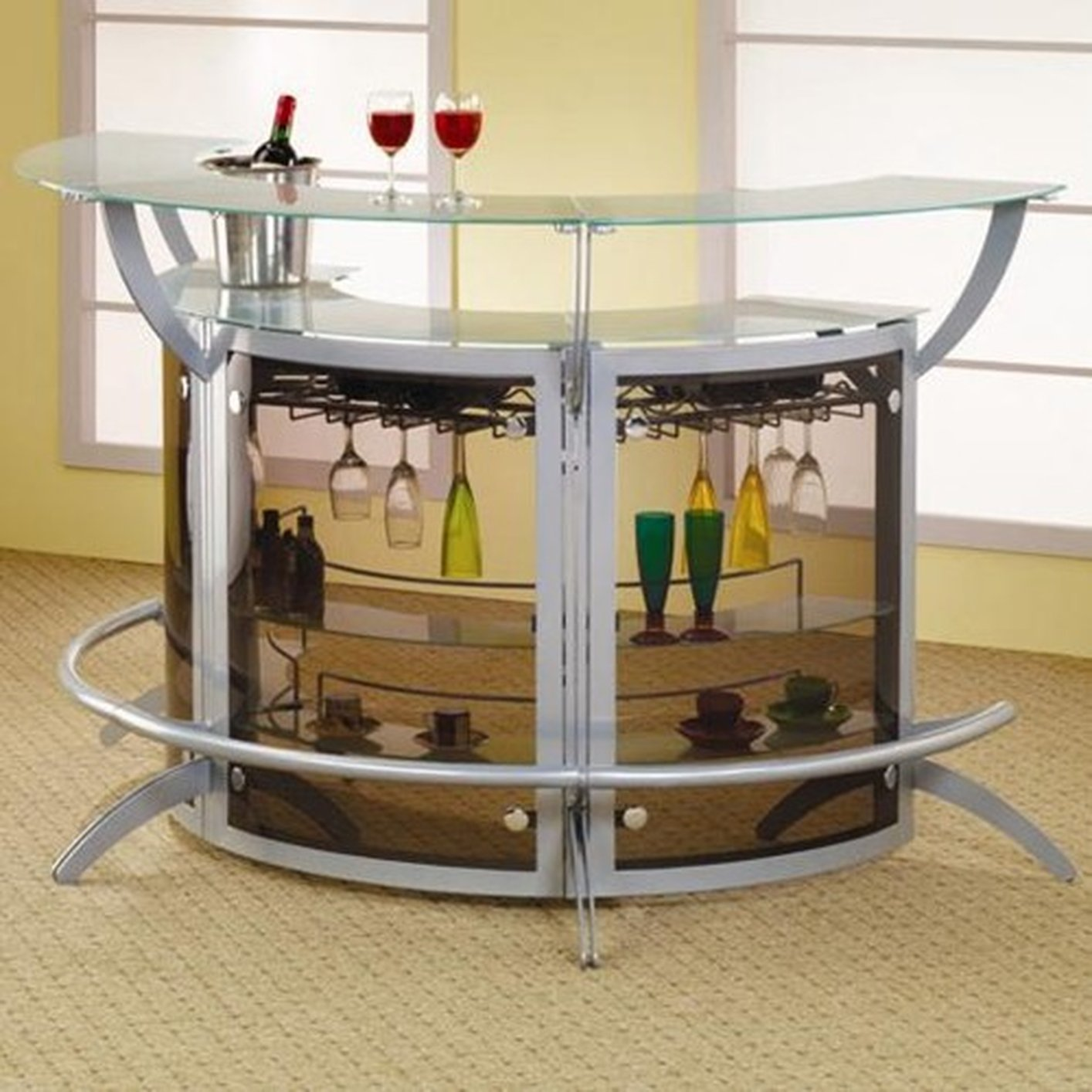 Coaster 100135 silver glass bar unit steal a sofa for Bar at home furniture