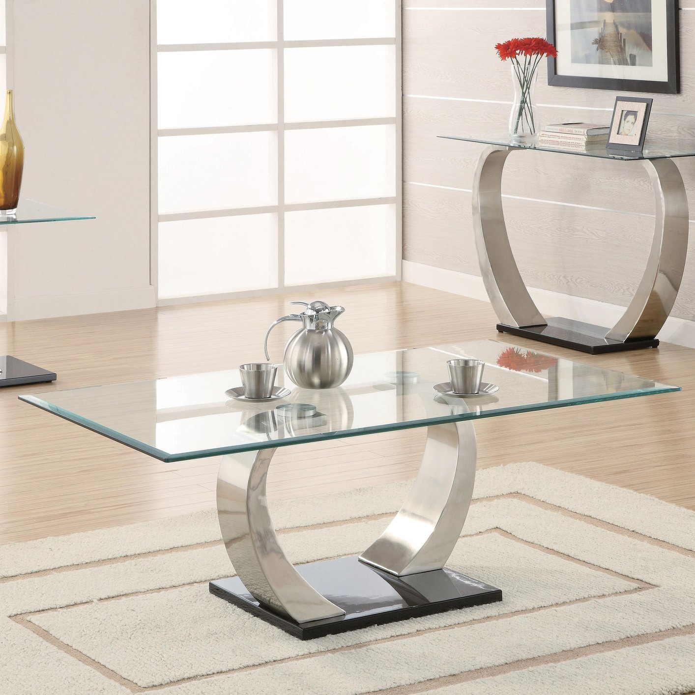Incroyable Silver Glass Coffee Table