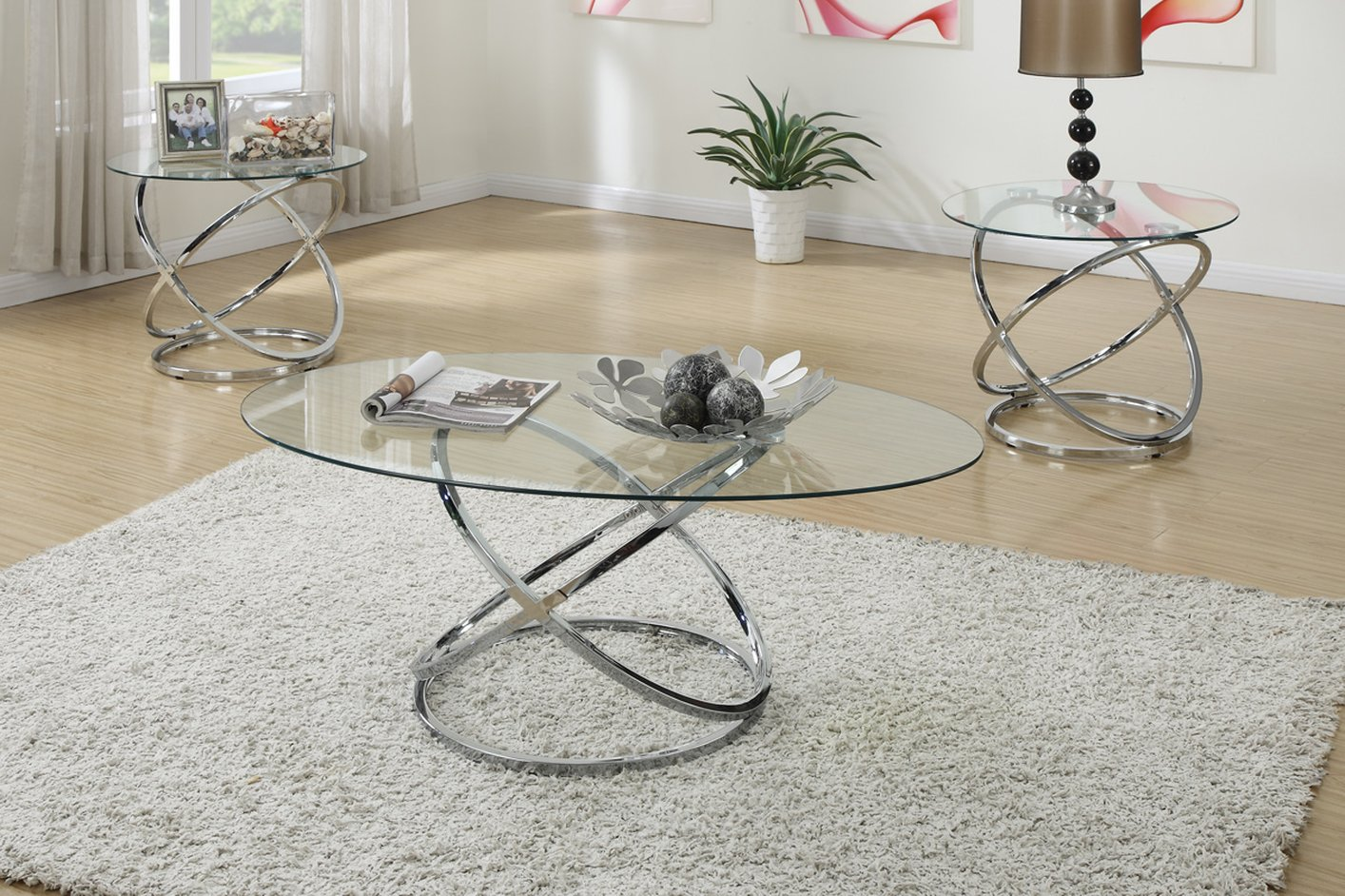 Silver Glass Coffee Table Set - Poundex F3087 Silver Glass Coffee Table Set - Steal-A-Sofa