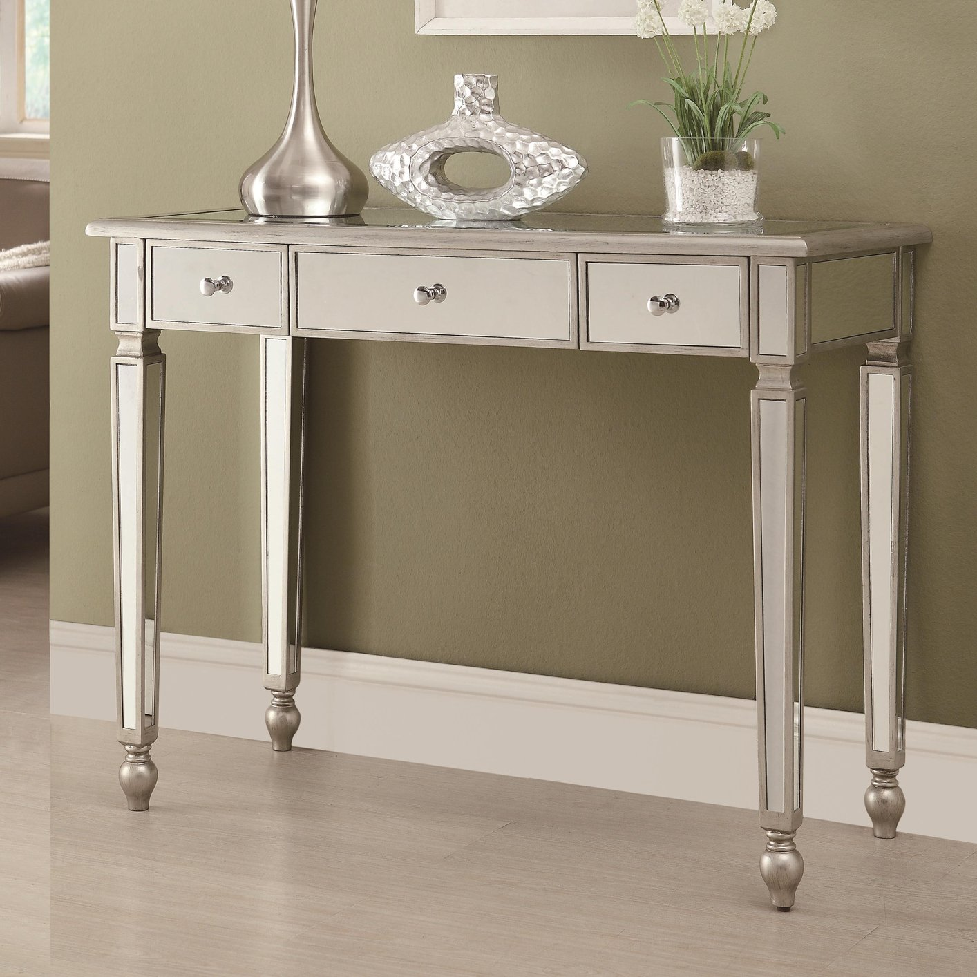 Delightful Silver Glass Console Table
