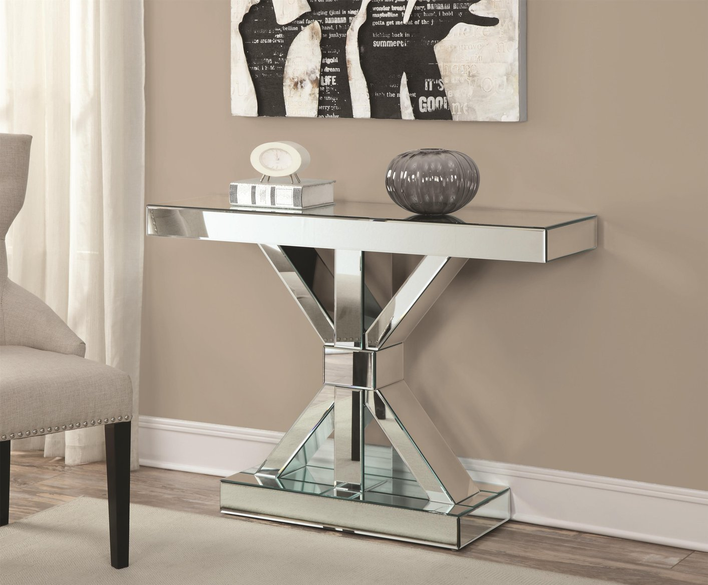 Silver Glass Console Table Steal A Sofa Furniture Outlet