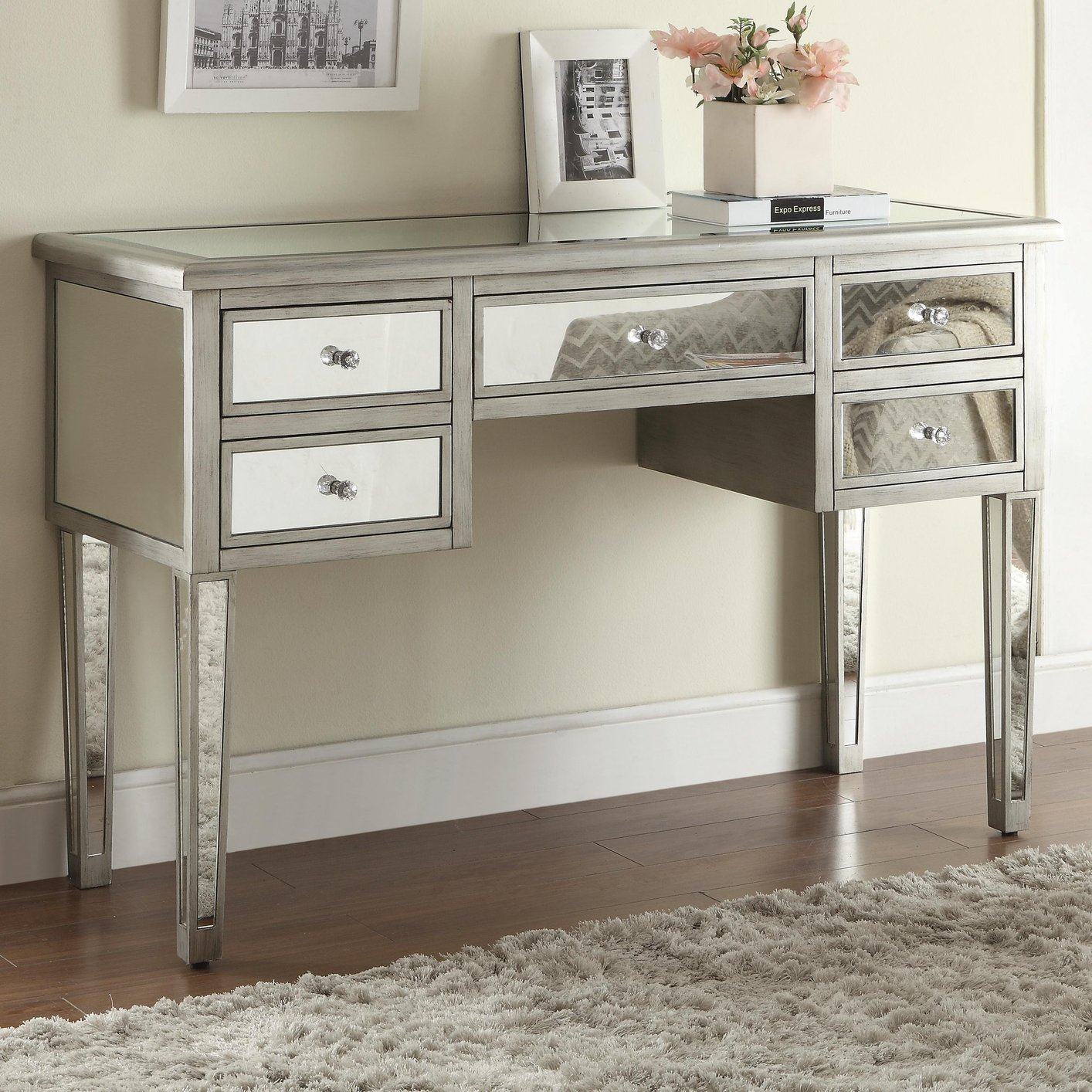 Silver glass console table steal a sofa furniture outlet los silver glass console table geotapseo Image collections