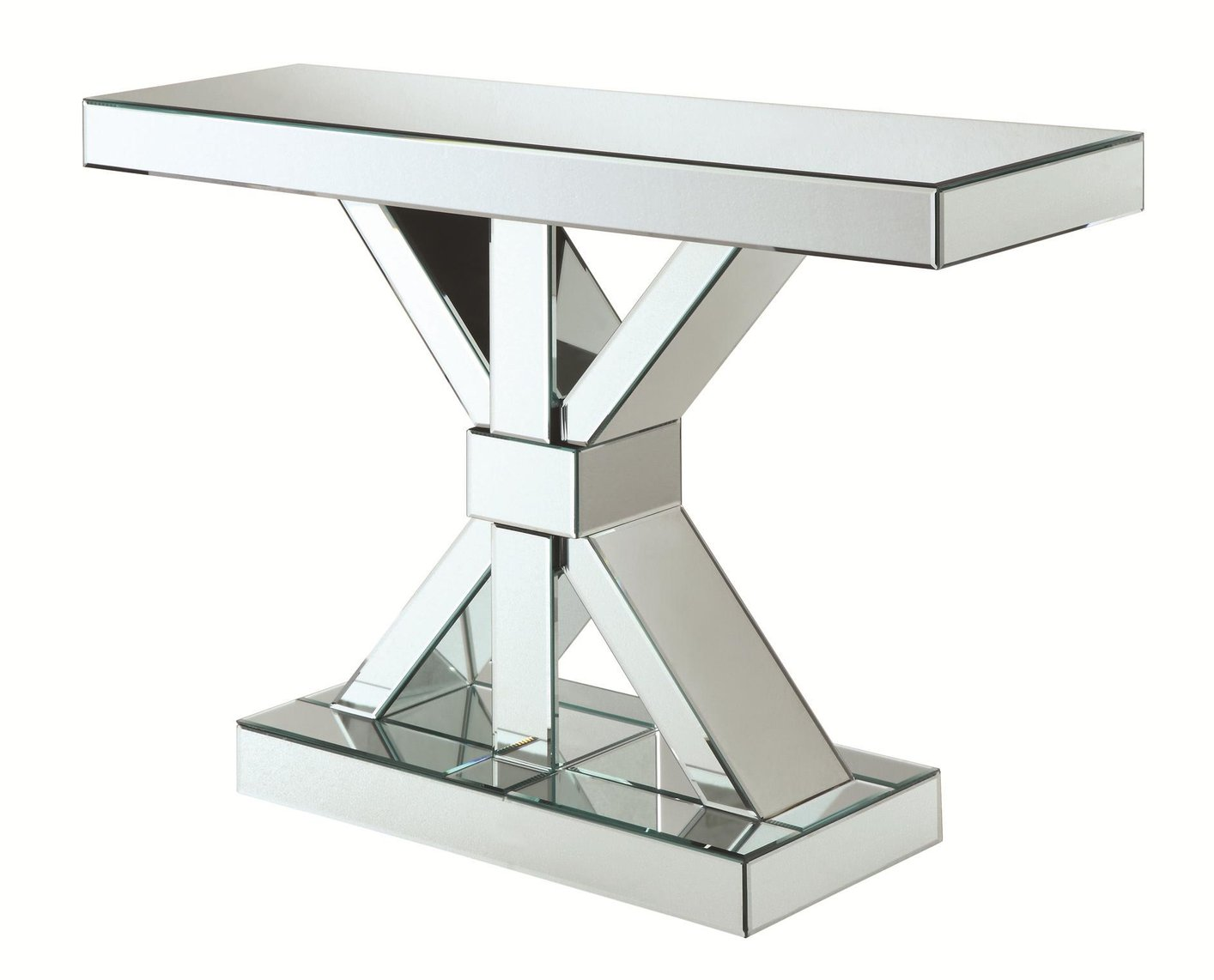 Coaster 950191 Silver Glass Console Table Steal A Sofa Mirrored Sofa  Console Table Mirrored Sofa Console