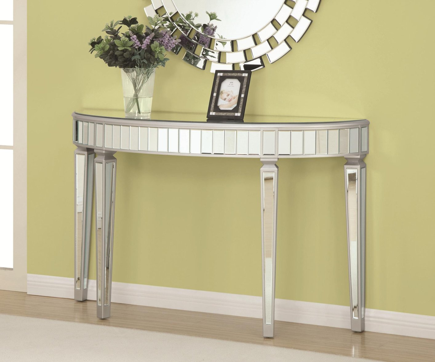Coaster 950183 Silver Glass Console Table Steal A Sofa