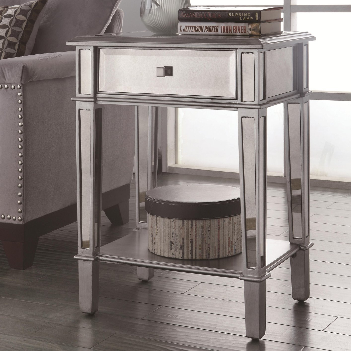 Silver Glass End Table