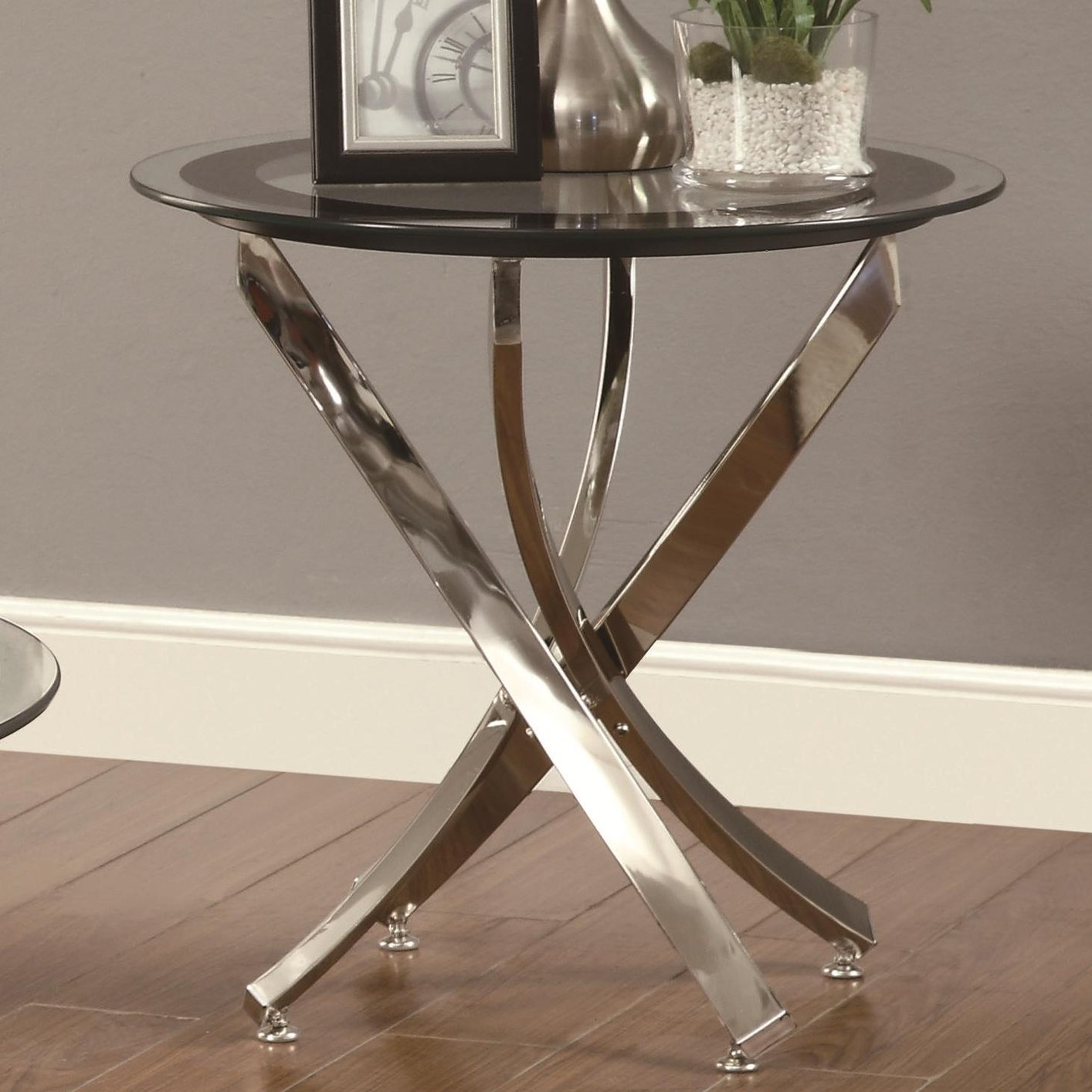 Coaster 702587 Silver Glass End Table Steal A Sofa Furniture Outlet Los Angeles Ca