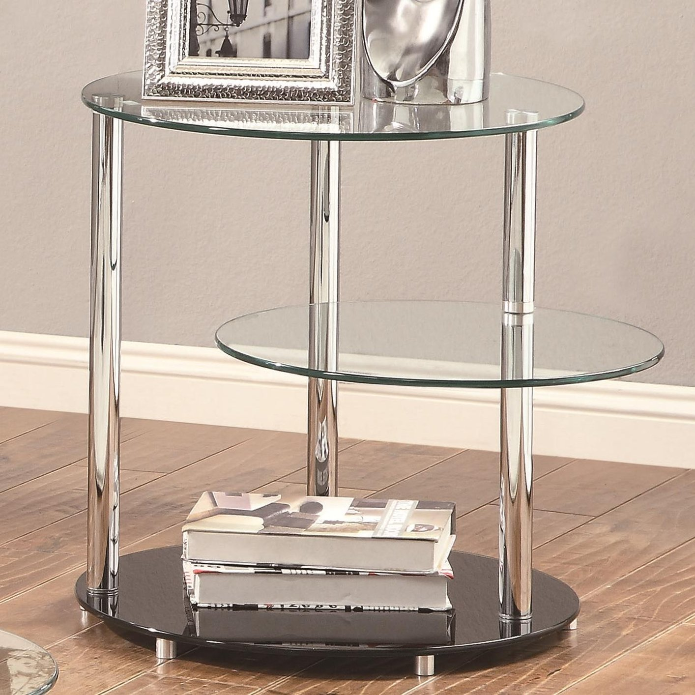 coaster 702707 silver glass end table steal a sofa