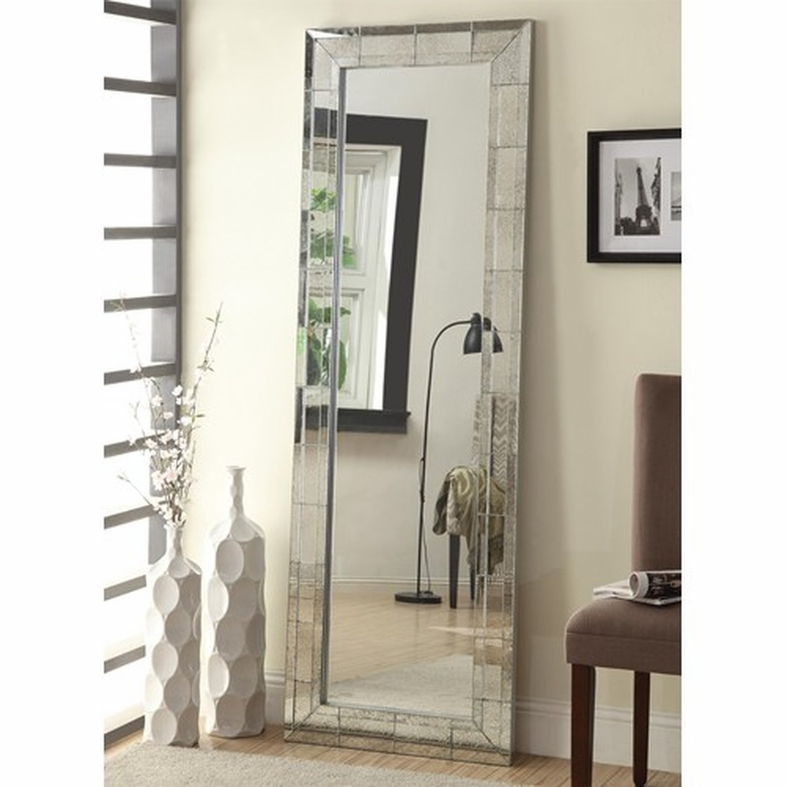 Silver Glass Floor Mirror - Steal-A-Sofa Furniture Outlet Los Angeles CA