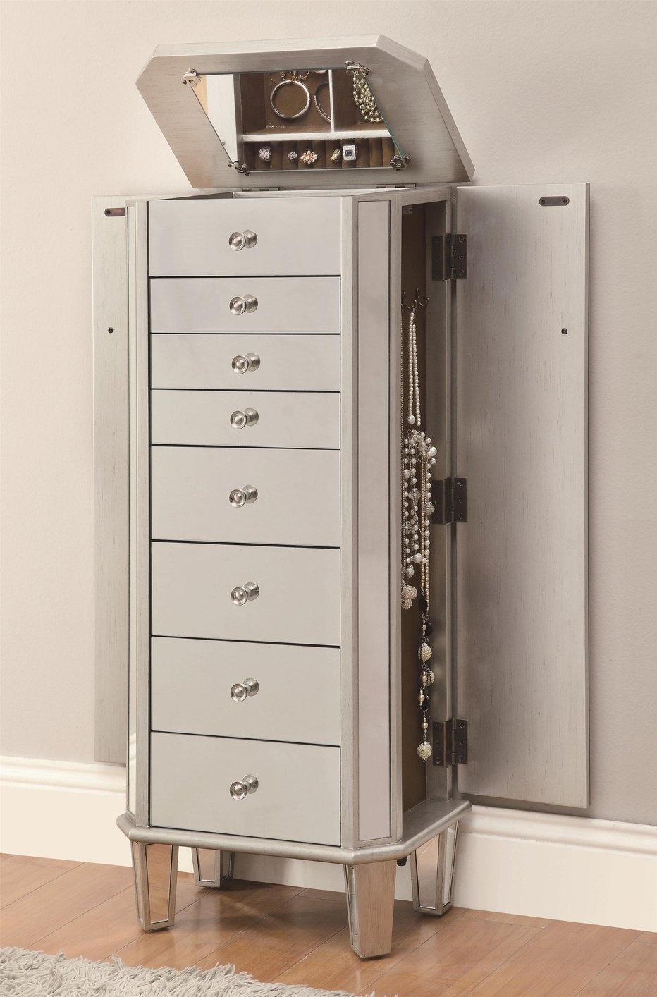Silver Wood Jewelry Armoire