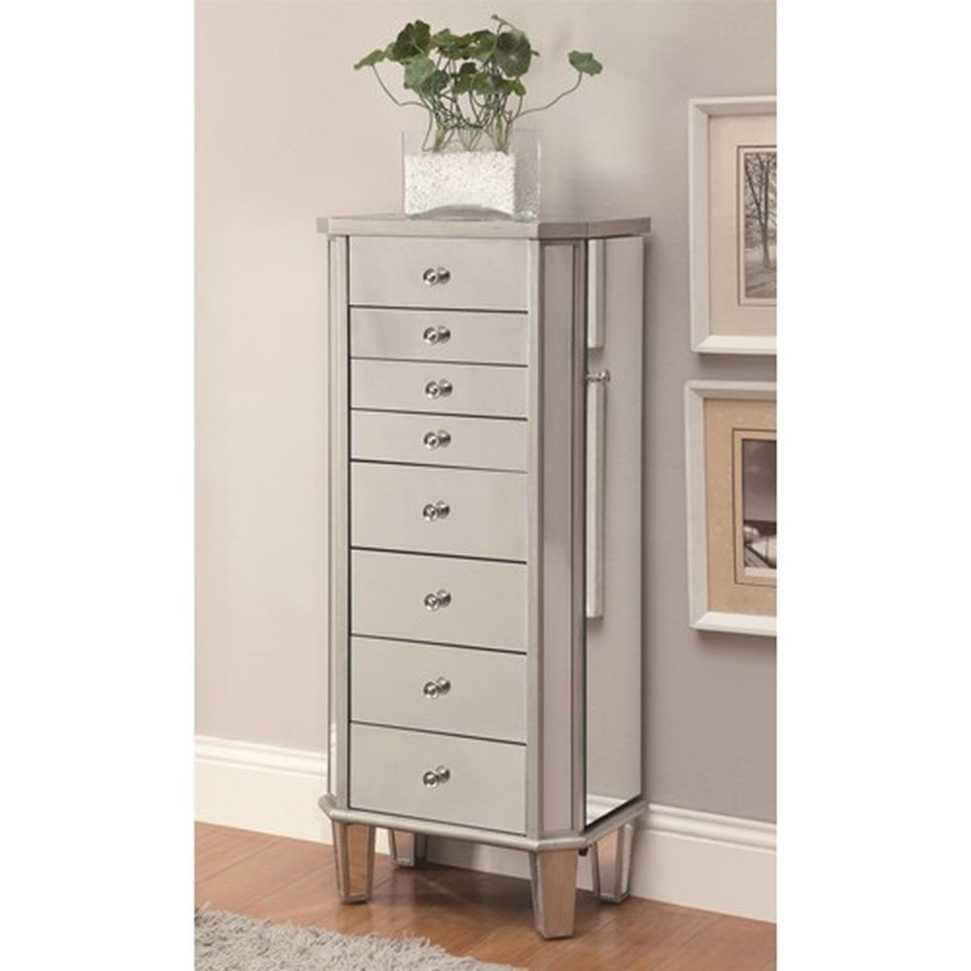 Silver Glass Jewelry Armoire StealASofa Furniture Outlet Los
