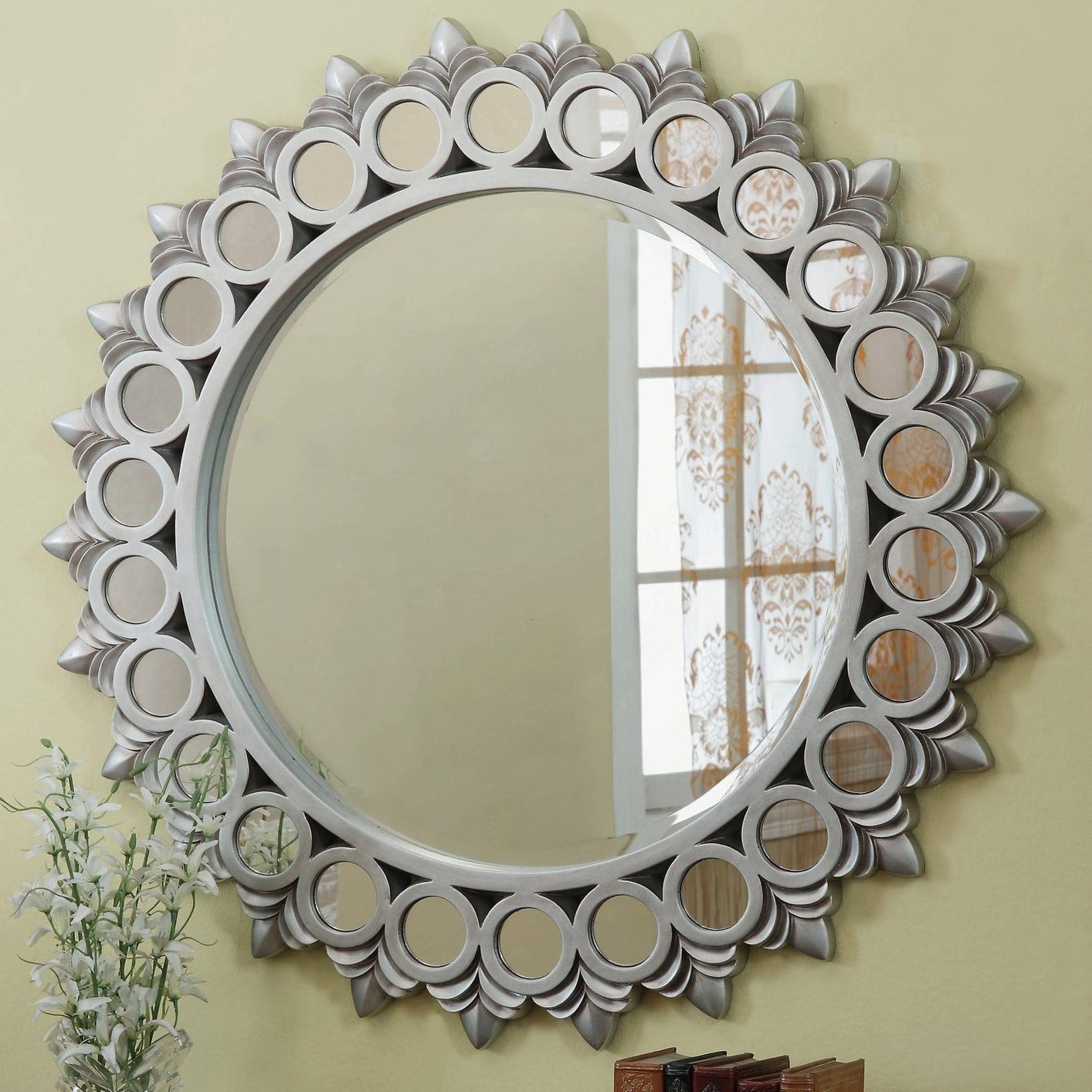 Silver glass mirror steal a sofa furniture outlet los for Looking for wall mirrors