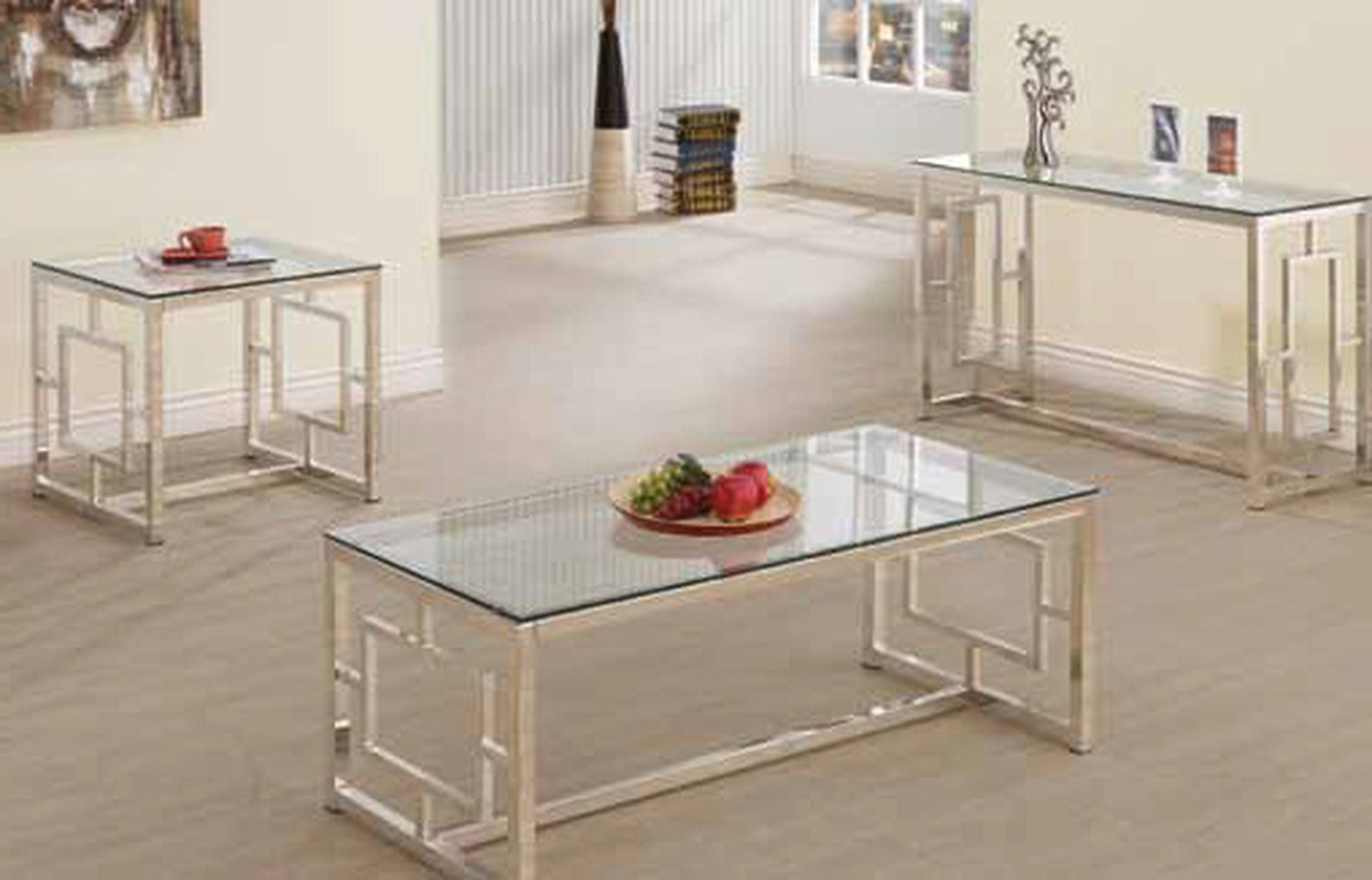 Silver Glass Sofa Table - Steal-A-Sofa Furniture Outlet Los Angeles CA