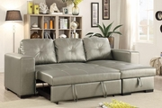 Silver Leather Sectional Sofa and Ottoman