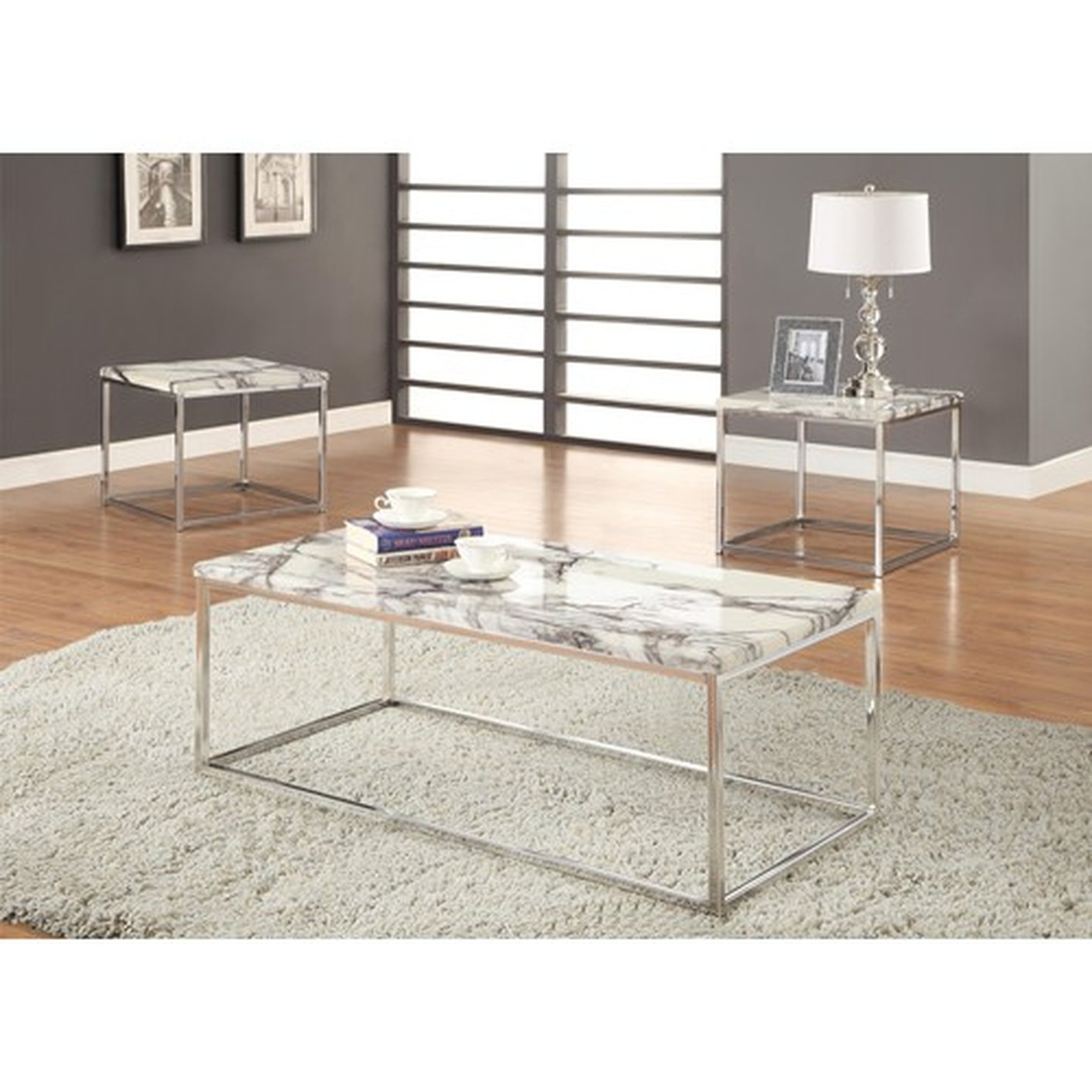 Silver Marble Coffee Table Set - Steal-A-Sofa Furniture Outlet Los ...