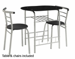 Silver Plastic Dining Table and Chair Set