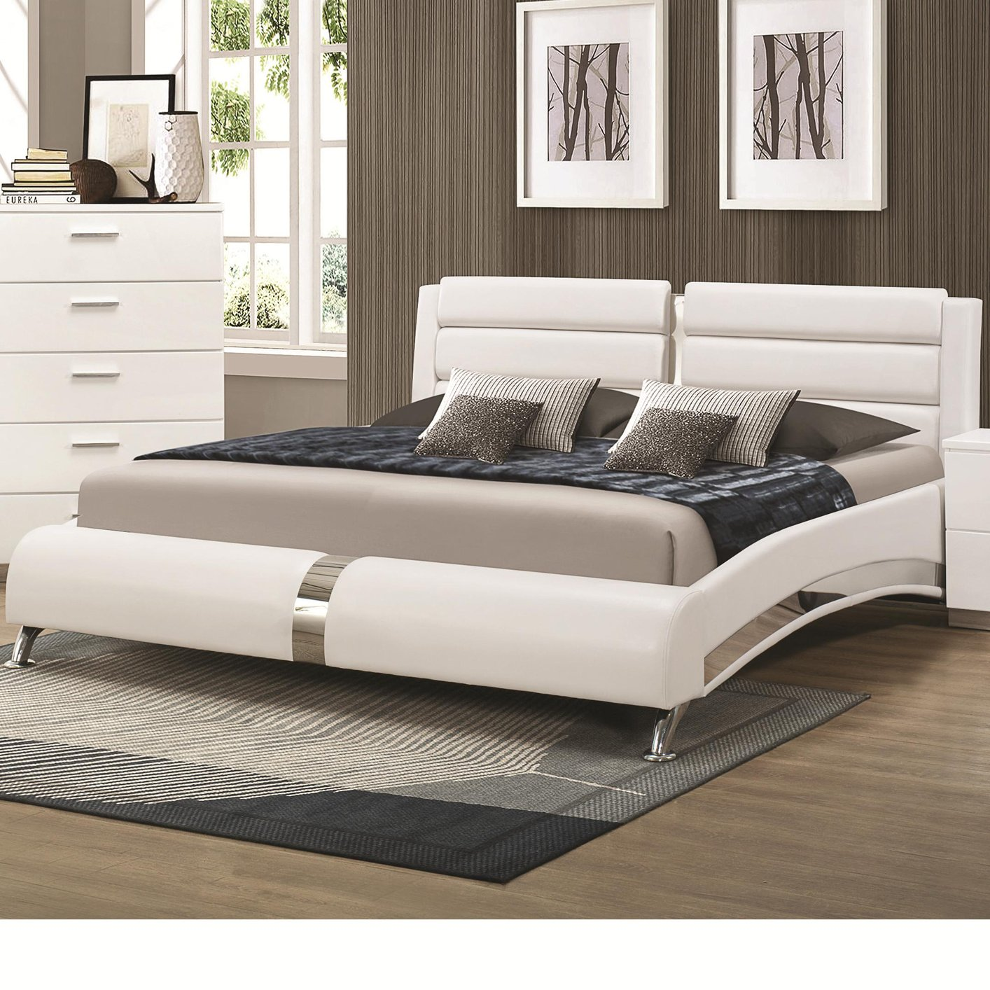 Coaster 300345kw silver california king size wood bed for Bedroom sets with mattress