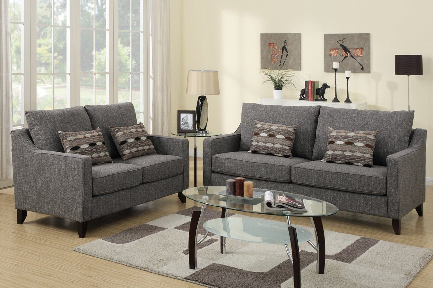 Poundex avery f7544 grey fabric sofa and loveseat set Fabric sofas and loveseats