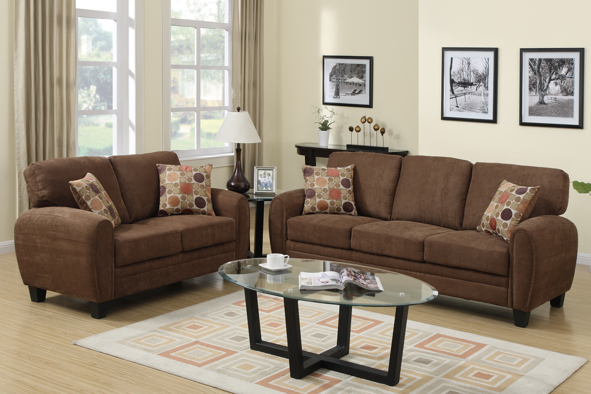 Brown Fabric Sofa And Loveseat Set Steal A Furniture Outlet Los Angeles Ca