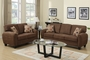 Hazel Brown Fabric Sofa and Loveseat Set