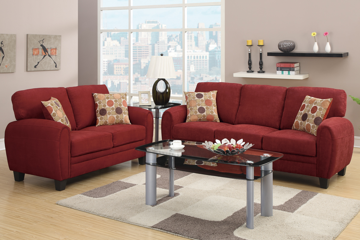 Hazel red fabric sofa and loveseat set steal a sofa for Couch and loveseat