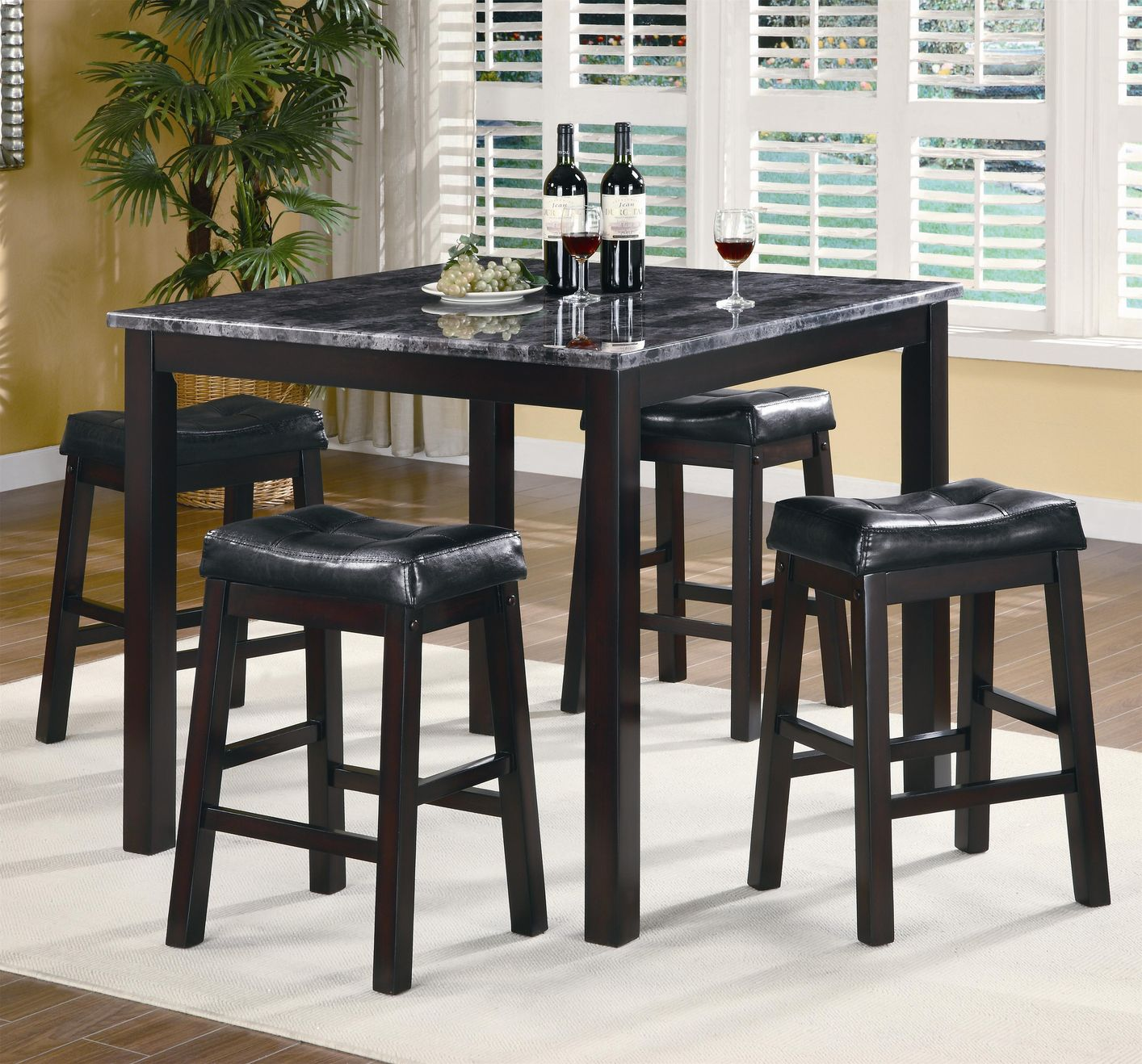 Sophia Cappuccino Wood And Marble Pub Table Set