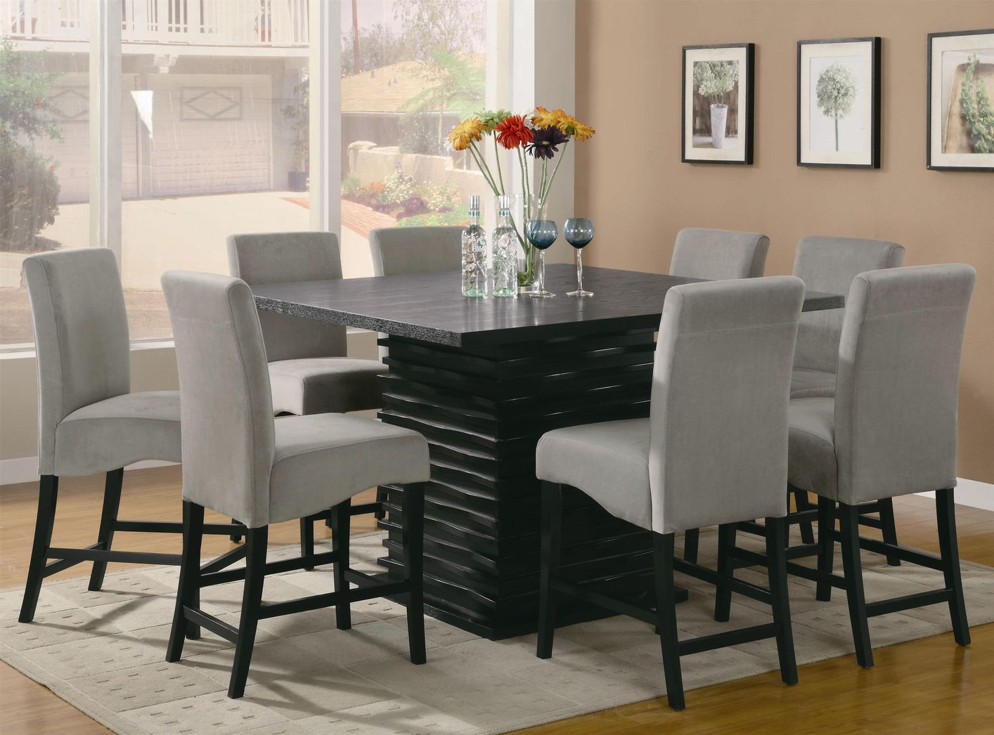 Stanton Black And Gray Wood Pub Table Set StealASofa Furniture