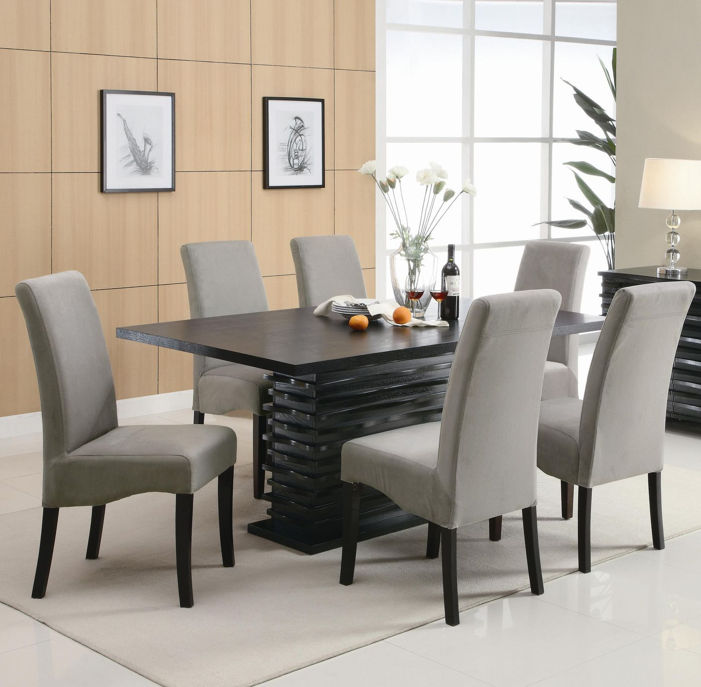 Coaster stanton 102061 102062 black wood dining table set for Black dining table