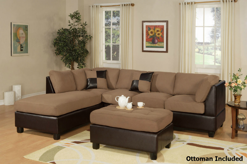 Katja Brown Leather Sectional Sofa and Ottoman : brown leather sectional with ottoman - Sectionals, Sofas & Couches