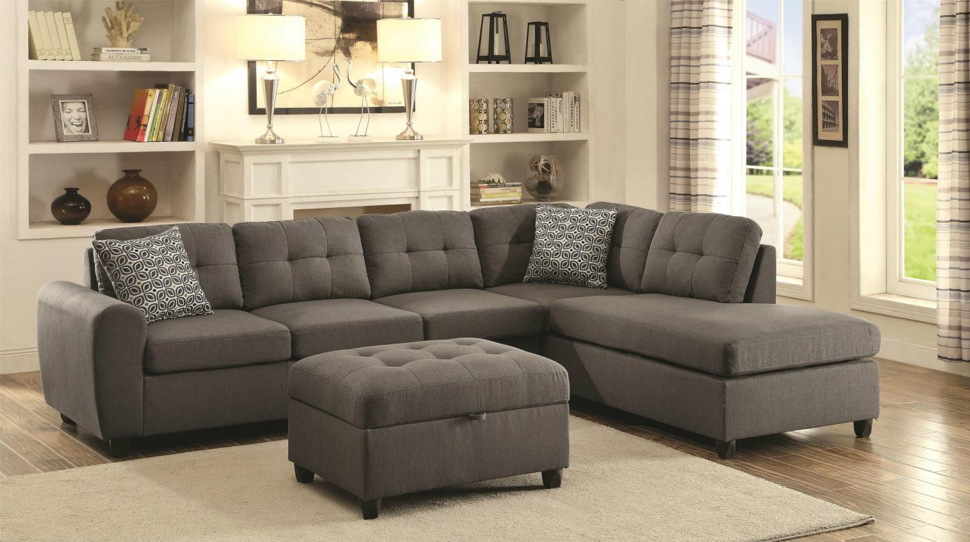 Coaster stonenesse 500413 grey fabric sectional sofa for Sectional furniture