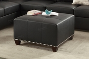 Suver Black Leather Ottoman