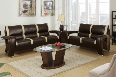 Tabby Espresso And Saddle Bonded Leather Sofa And Loveseat Set
