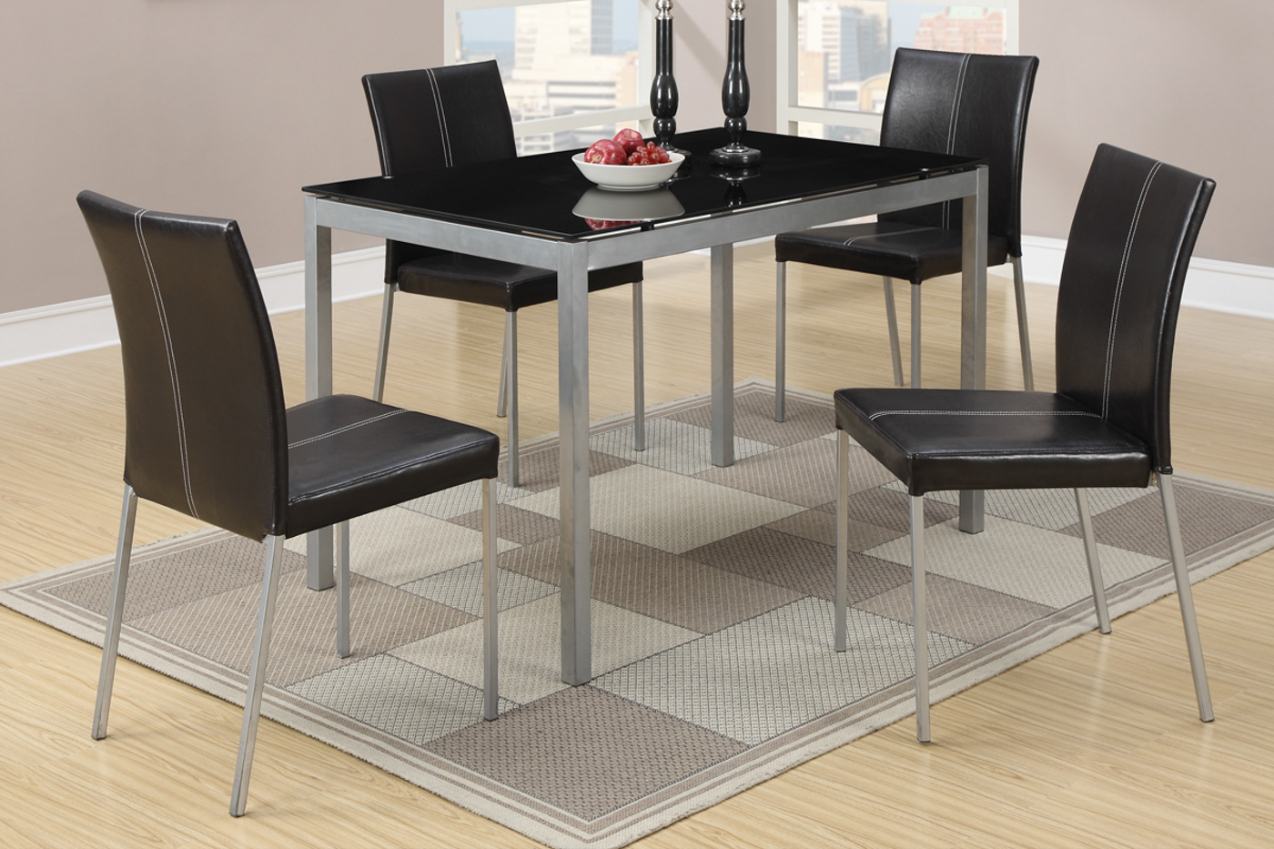 Poundex F2363 Silver Metal Dining Table and Chair Set Steal A